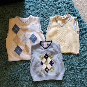 Lot of 3 Baby Toddler Boys Sweater Vests